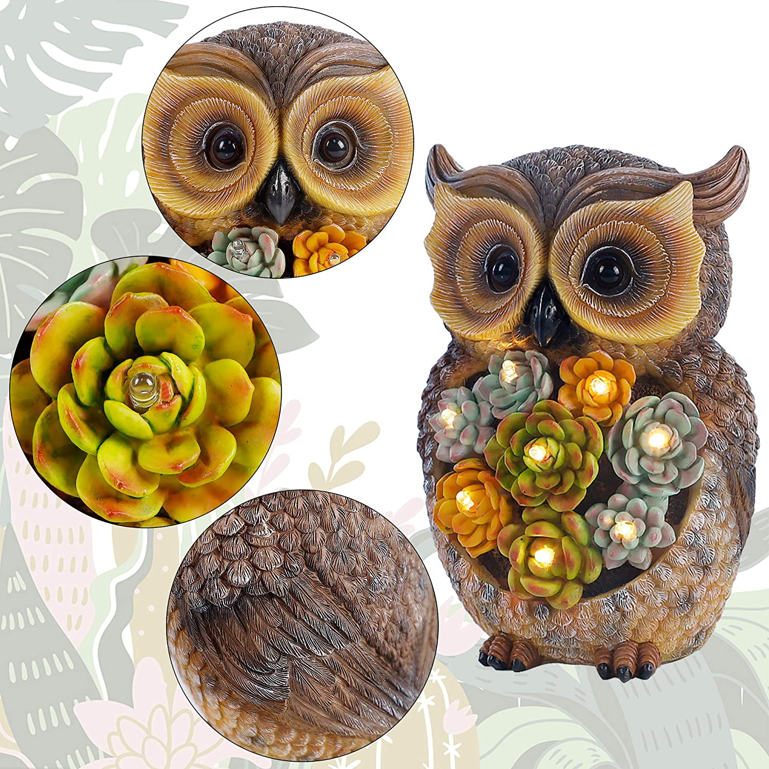 Resin Owl Figurine Garden Lawn Ornaments with Solar LED Lights for Outdoor Yard Garden Decorations FORUP Owl Garden Statue