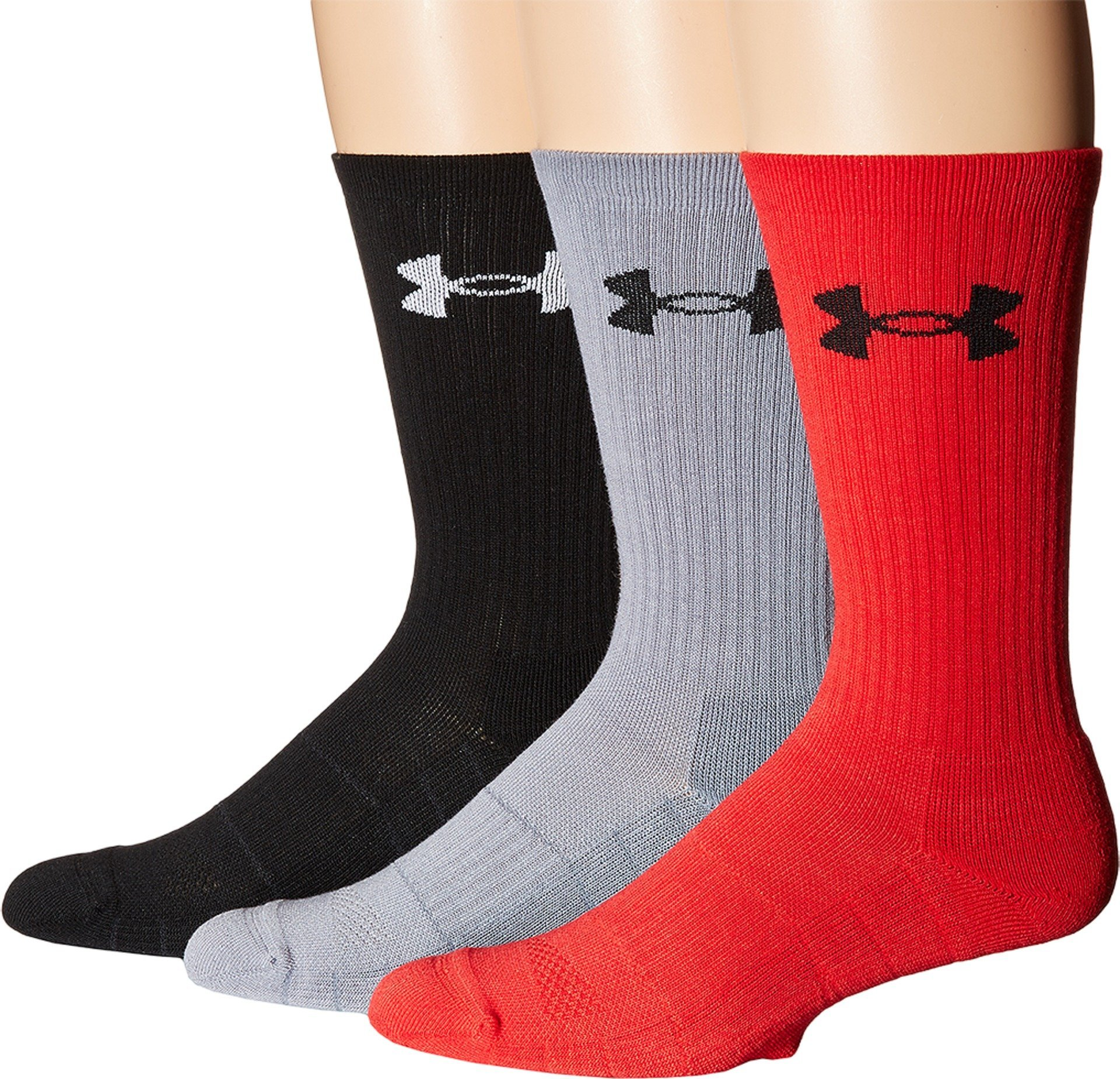 Under Armour Men's Elevated Performance Crew Socks (3 Pack), Rocket Red Assortment, Large