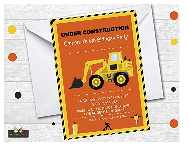 amazon com construction birthday party invitation customized set of