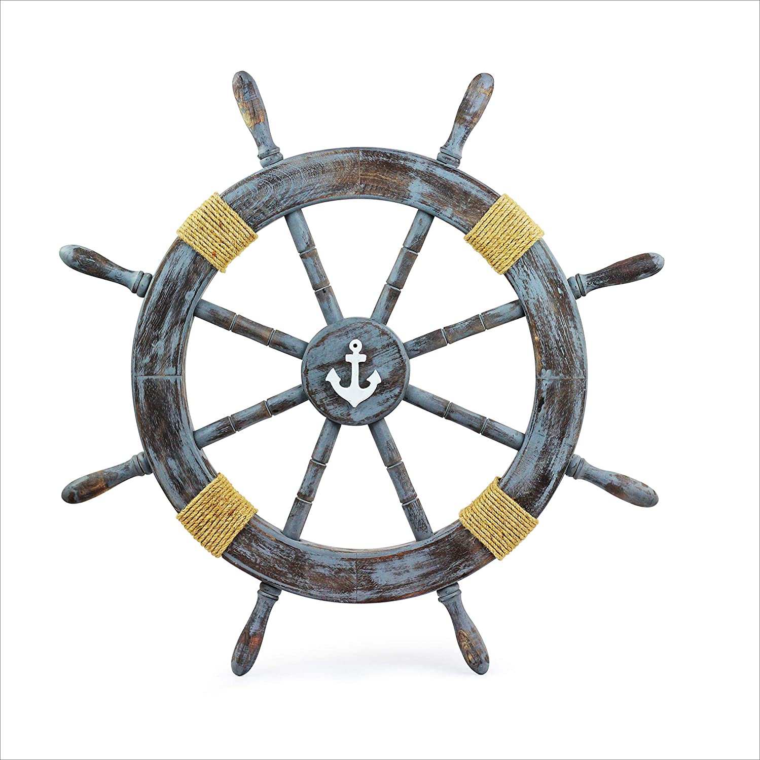 Nagina International Rustic Grey Nautical Vintage Themed Classic Wooden Ship Wheel with Anchor & Ropes | Ocean Beach House Home Decor (48 Inches)