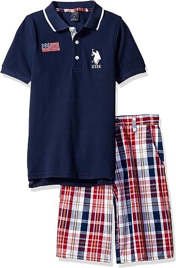 Boys Little Embellished Pique Polo Shirt and Plaid Short Polo Assn U.S