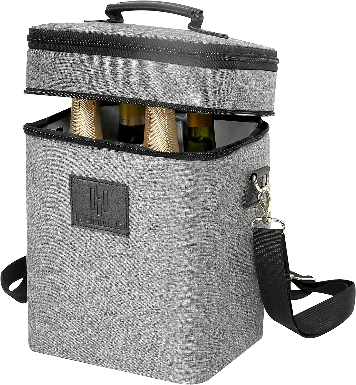 HAMILO 4 Bottle Wine Carrier, Waterproof and Leakproof Wine Tote Bag with Expandable Zipper and Padded Shoulder, Insulated Travel Champagne Cooler Purse with Shoulder Strap and Corkscrew Opener Holder