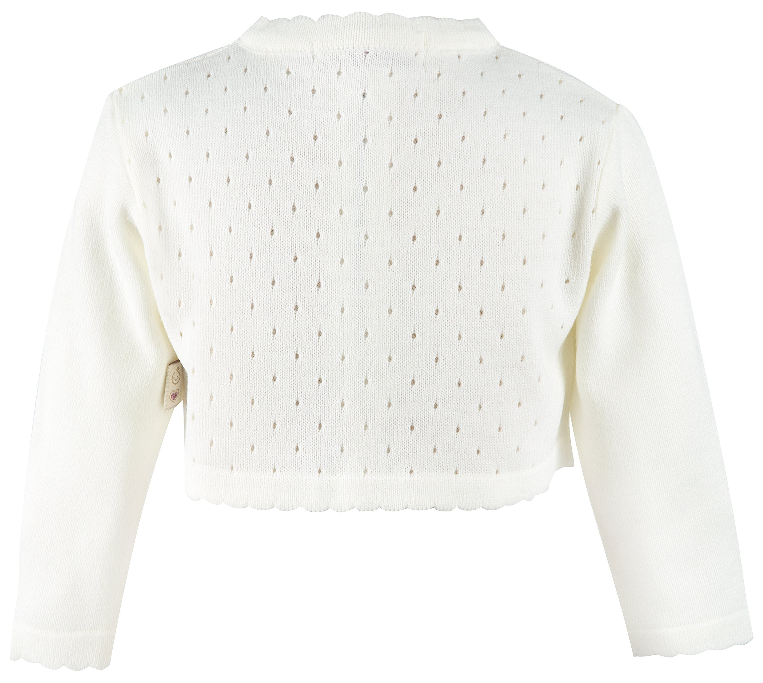 Lilax Little Girls' Knit Long Sleeve One Button Closure Bolero Shrug 9 Cream by Lilax (Image #2)