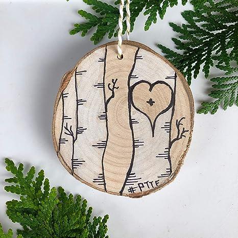 Amazon Com Pioneer Trails Tree Farm Birch Tree Love Handmade Christmas Tree Ornament Painted Kitchen Dining