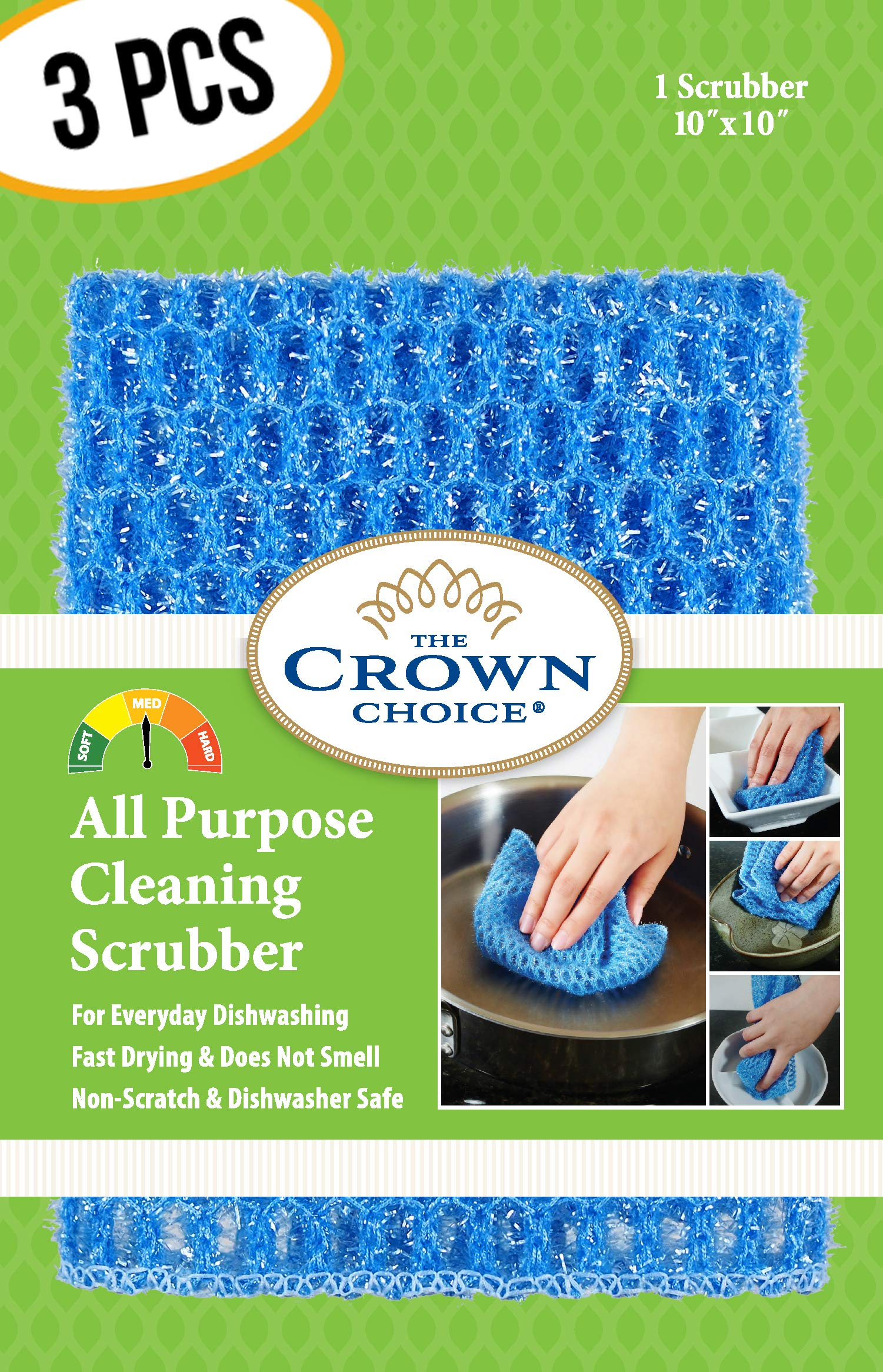 NO ODOR Dish Cloth for All Purpose Dish Washing (3PK) | No Mildew Smell from Sponges, Scrubbers, Wash Cloths, Rags, Brush | Outlast ANY Kitchen Scrubbing Sponge or Cotton Dishcloth by The Crown Choice