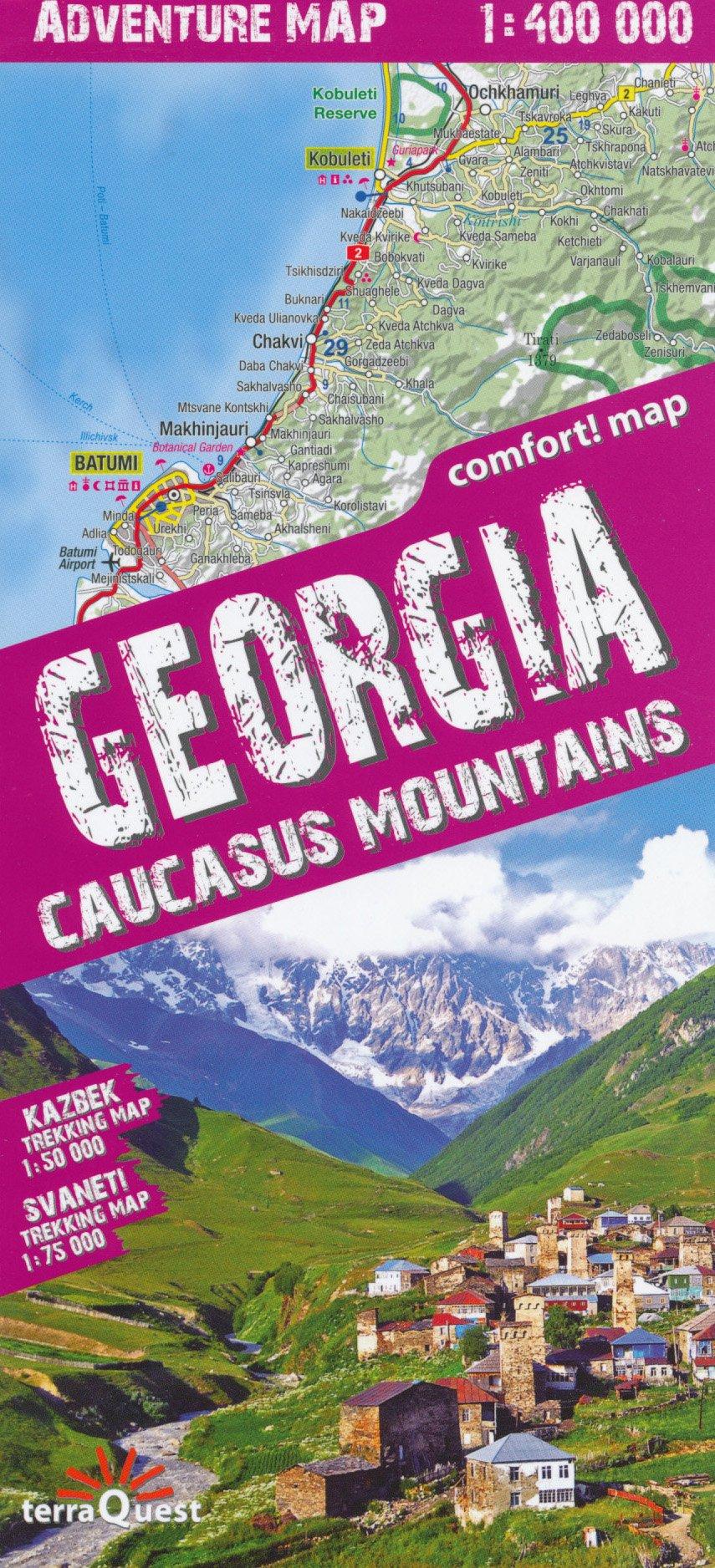 Map Of Georgia Landforms.Georgia Caucasus 1 400 000 Adventure Map Tq Trekking