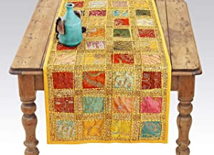 Yellow Indian Table Runner - Embroidered Sequin Cotton Boho Bohemian Hippie Patchwork Runner Tapestry Wall Hanging - Indian Decoration Tapestry Wedding Reception Party Decor (Yellow, 16 x 72 Inch)