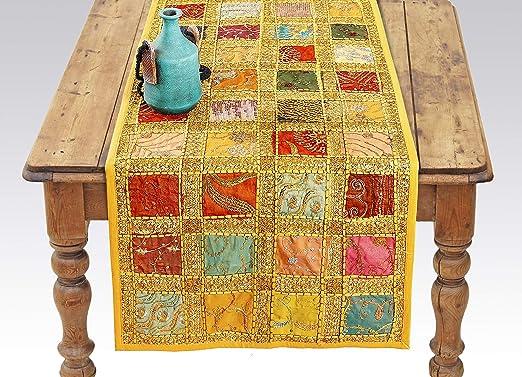 Labhanshi Camino de mesa indio amarillo – bordado de lentejuelas ...