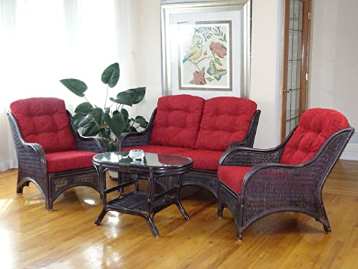 Amazon.com: Jam Living Set of 2 Lounge Natural Rattan Chairs ...