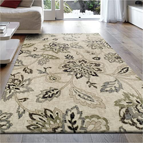 Superior 8mm Pile Height with Jute Backing, Beautiful Floral Pattern, Fashionable and Affordable Woven Rugs, 8 x 10 Rug