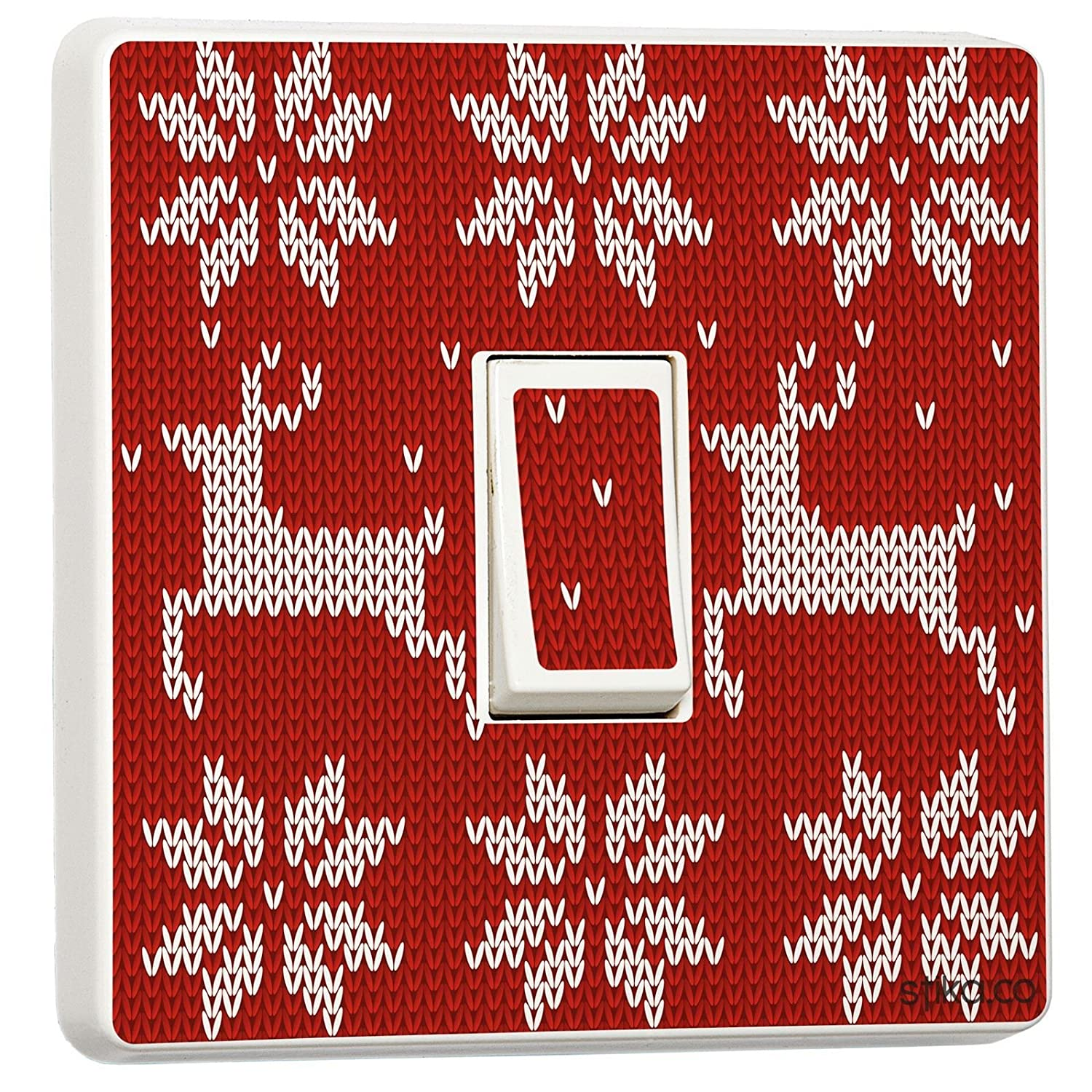 Christmas Red Knit Design Double Light Switch Cover Skin Sticker stika.co