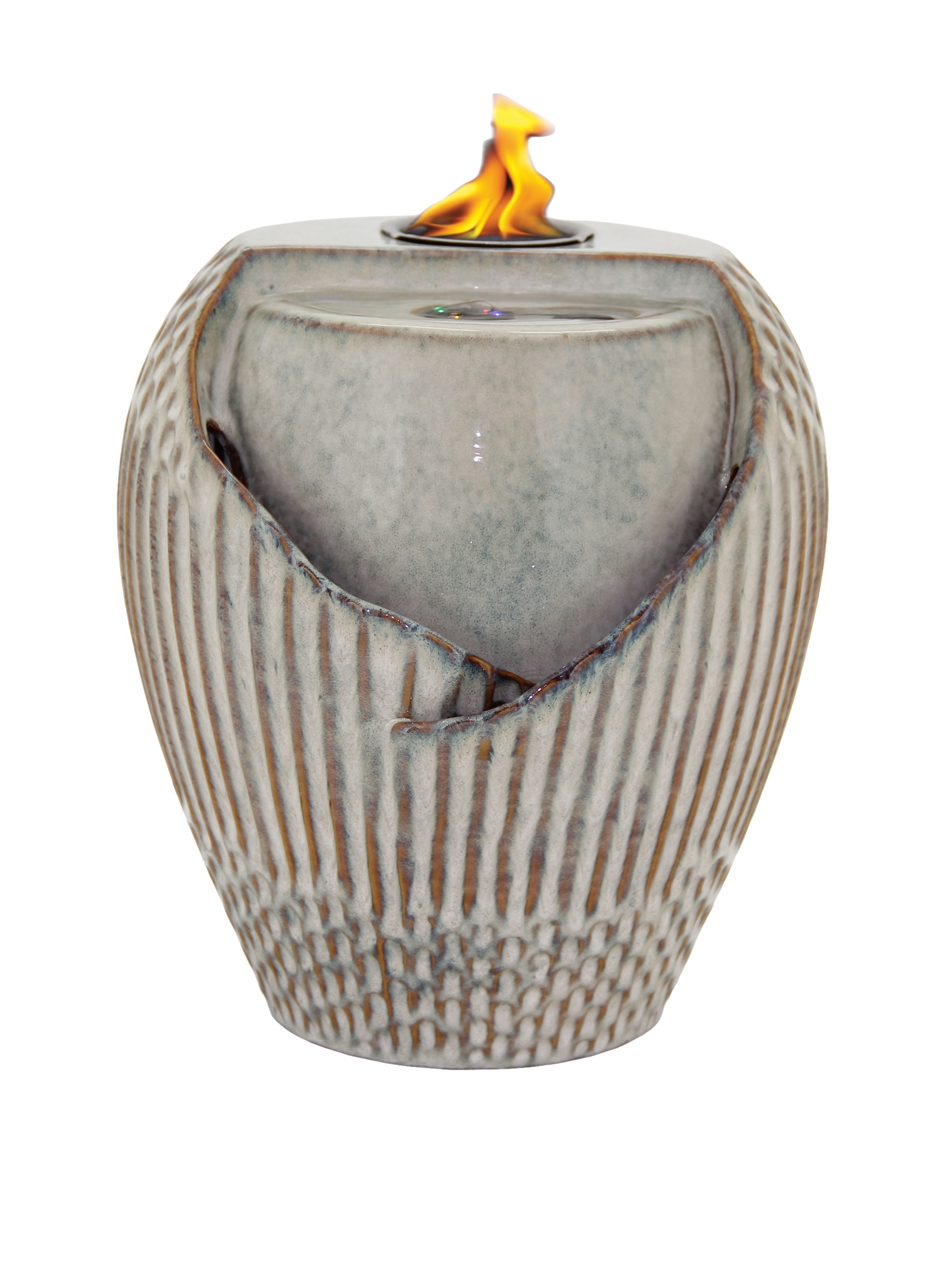 Pacific Décor Osaka LED Flame Fountain, 10 by 10 by 12-Inch, Sand