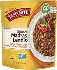 Tasty Bite Indian Entree Madras Lentils 10 Ounce (Pack of 6), Fully Cooked Indian Entrée with Lentils Red Beans & Spices in