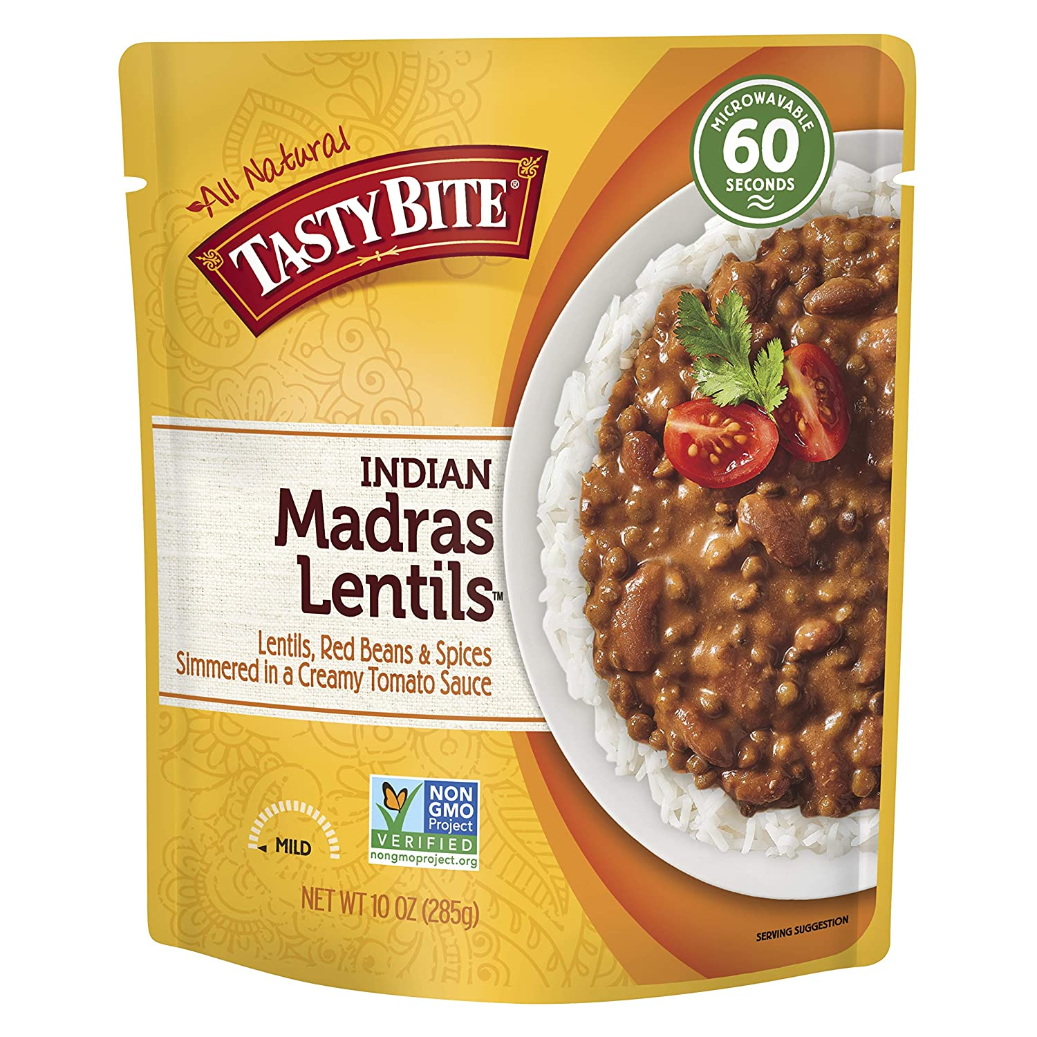 Tasty Bite Indian Entree Madras Lentils 10 Ounce (Pack of 6), Fully Cooked  Indian Entrée with Lentils Red Beans & Spices in a Creamy Tomato Sauce,