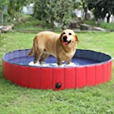 "FEMOR Largest Foldable Pet Dogs Cats Paddling Pool Puppy Swimming Bathing Tub (L/160 × 30cm / 63""D x 12""H )"