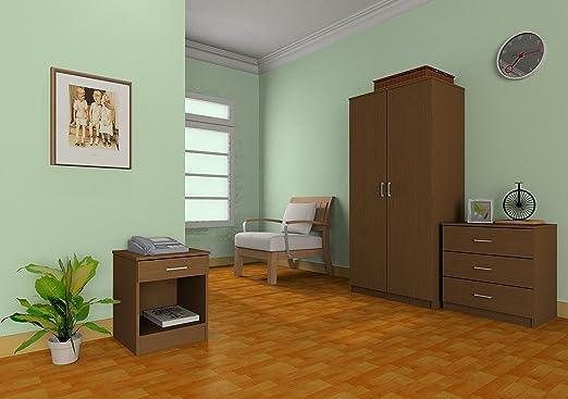 Right Deals UK Panama 3 Piece Bedroom Furniture Sets - Wardrobe, Chest,  Bedside - Beech, Walnut, White or Espresso (Walnut)