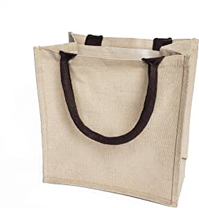 Reusable Burlap Bags Jute & Cotton Blend JuCo Totes with Laminated Interior (Pack of 6)
