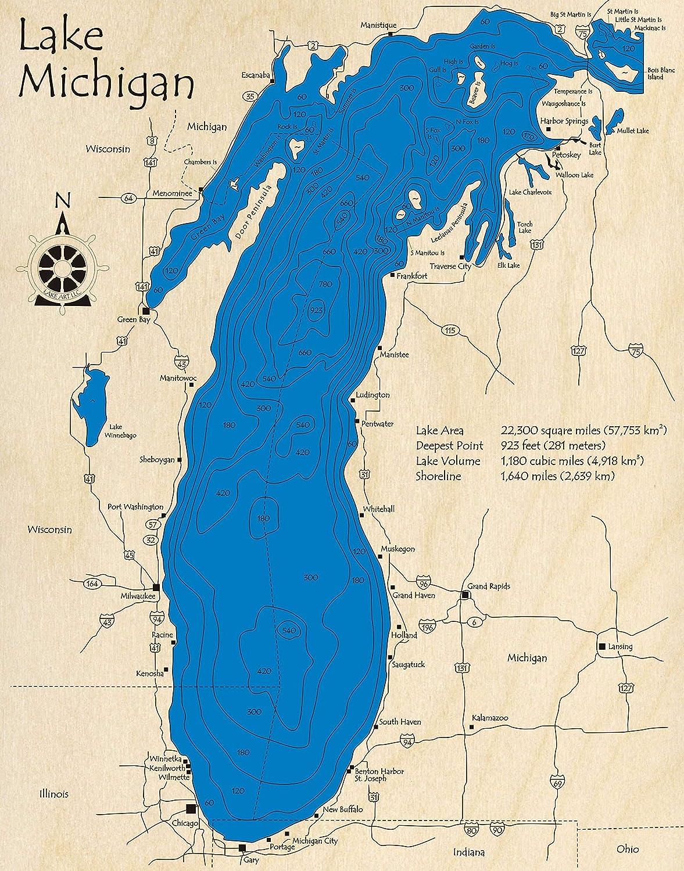 great lakes depth map Amazon Com Lake Michigan Great Lakes Gl 3d Map 14 X 18 In great lakes depth map