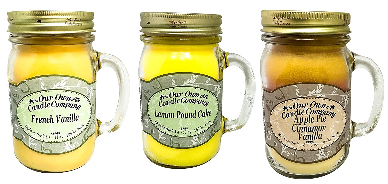 Our Own Candle Company Apple Pie Cinnamon Vanilla, Lemon Pound, and French Vanilla 3 Pack (3, Bundle)