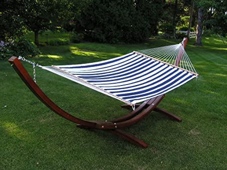 Deluxe Blue and White Quilted Hammock Extra Soft Polyester