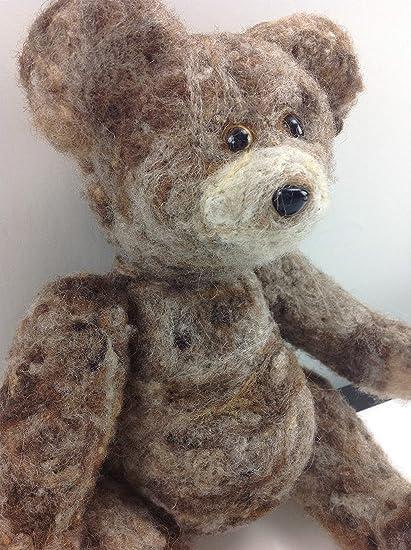 Needle Felted Animal little 1 teddy  bear Wool Art  mini Sculpture ooak gift-b1