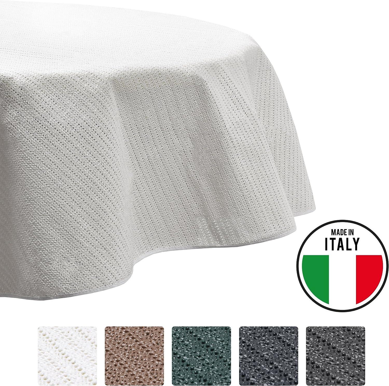 Beautissu Tovaglia da Giardino Rotonda /Ø 160cm Impermeabile e Antiscivolo Lena Verde per balconi Camping Picnic