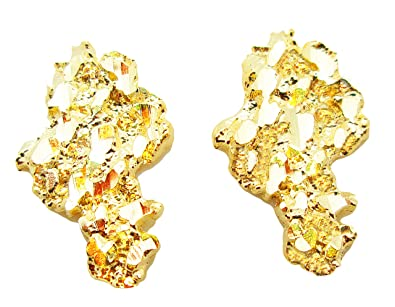 Amazon Mens 10k Yellow Gold Nug Earrings Jewelry
