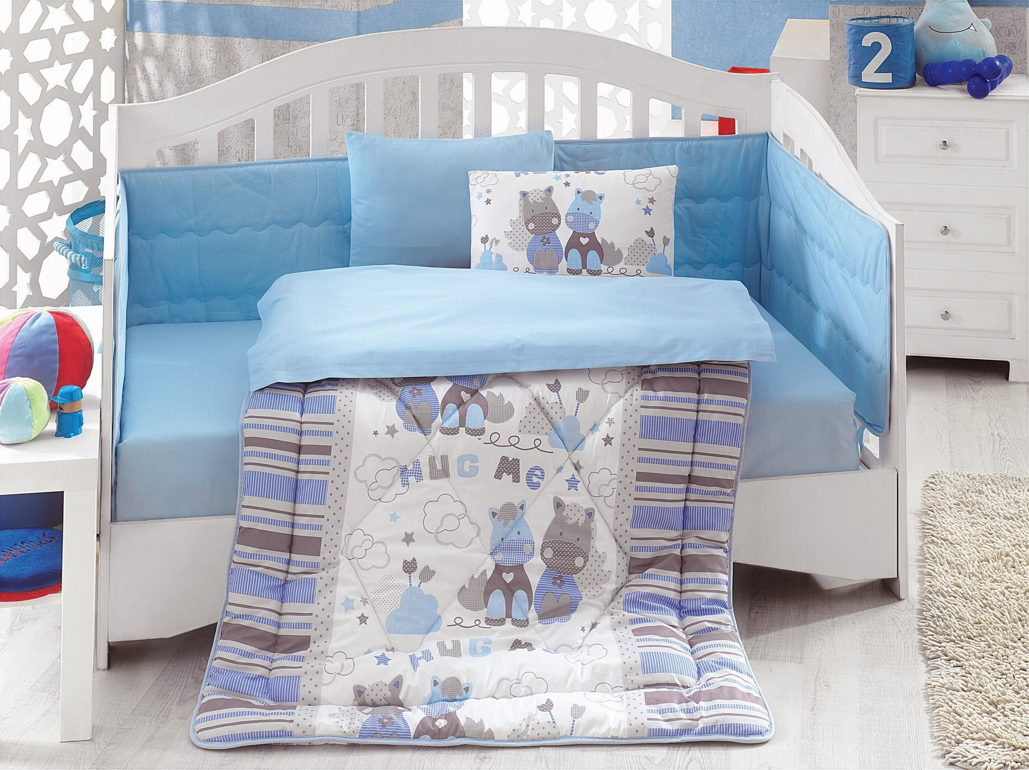 LaModaHome 6 Pcs Luxury Soft Colored Bedroom Bedding 100% Cotton Ranforce Baby Sleep Set Quilt Protector/Soft Relaxing Comfortable Pattern Design Hug Me Donkey/Baby Bed Size with Flat Seet