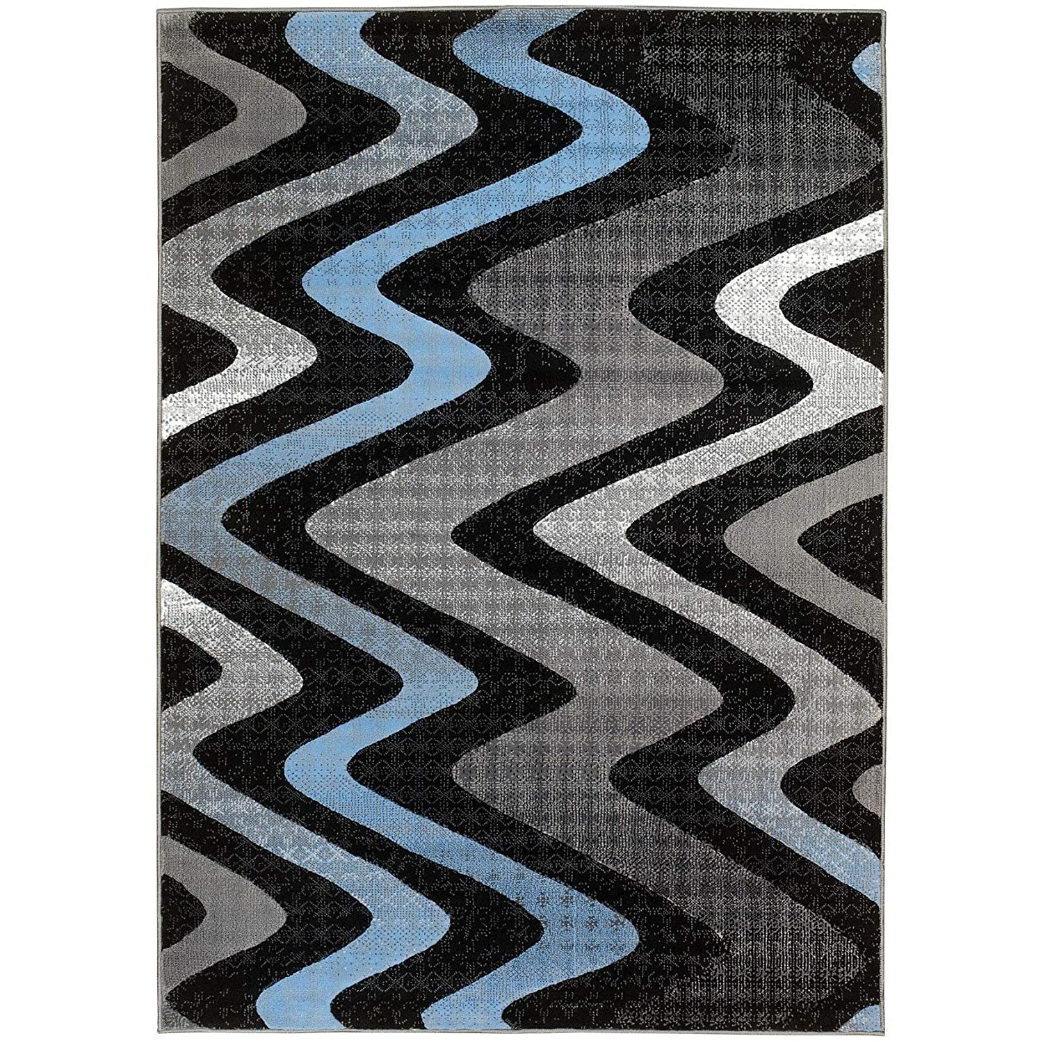Amazon com lyke home contemporary blue grey olefin area rug 8 x 10 home kitchen