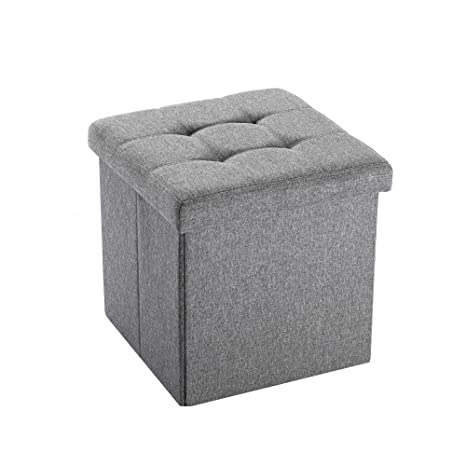 Awesome Nbliner Square Storage Ottoman Small Cube Footrest Stool Seat Fabric Toy Chest Black 15X15X15 Grey 1 Pack Onthecornerstone Fun Painted Chair Ideas Images Onthecornerstoneorg