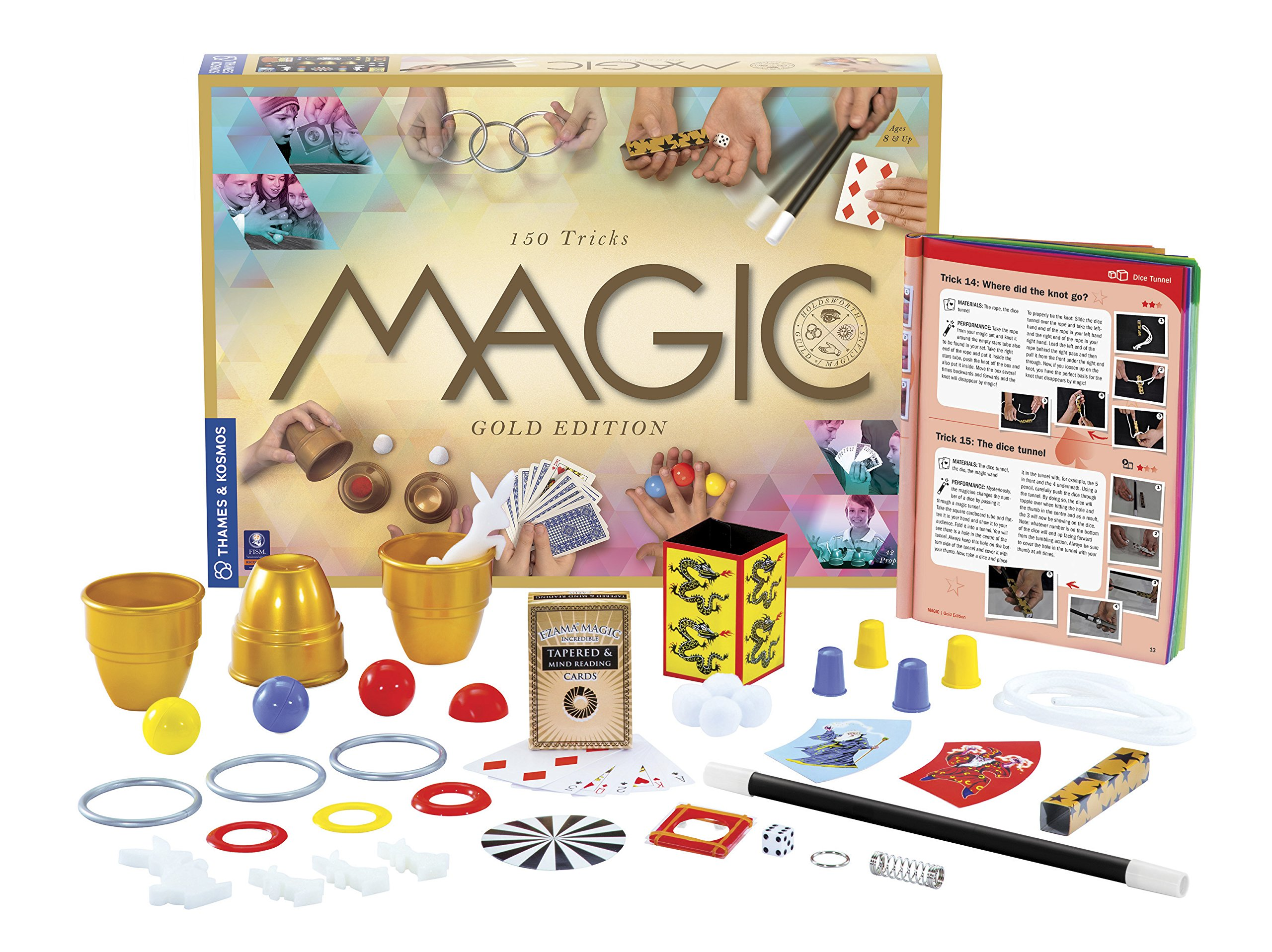 Thames & Kosmos Magic: Gold Edition | Playset with 150 Tricks | 96 Page Full Color Instruction Manual | 42 Props | Video Tutorials | Fun for Kids 8+ by Thames & Kosmos