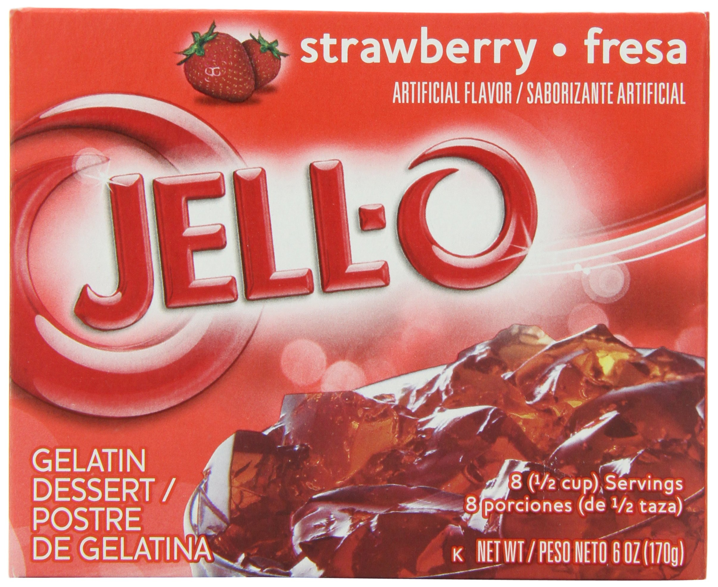 JELL-O Strawberry Gelatin Dessert Mix (6 oz Boxes, Pack of 24) by Jell-O (Image #1)