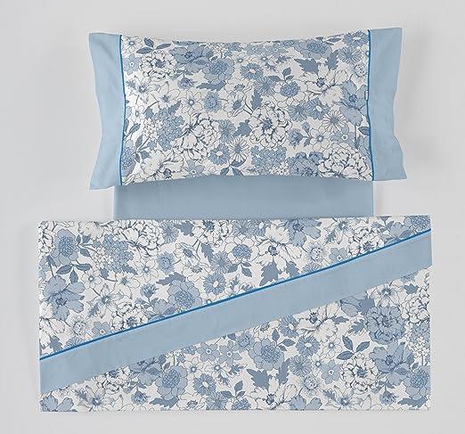 ES-Tela - Juego de sábanas Estampadas Erica Color Azul (4 Piezas ...