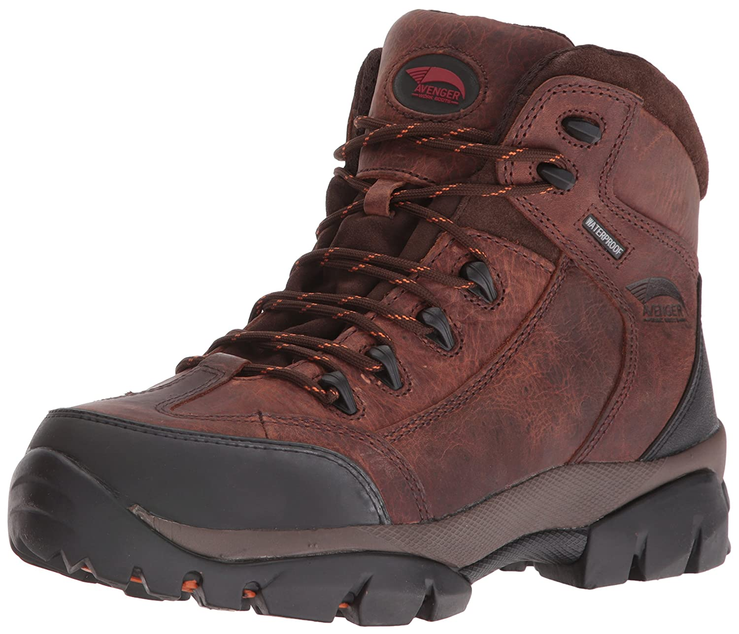 Avenger Safety Footwearメンズ7644レザーWaterproof Soft Toe NoメタルEH Hiker工業と建設Shoe ブラウン 13 2E US 13 2E USブラウン B007MLV7IY