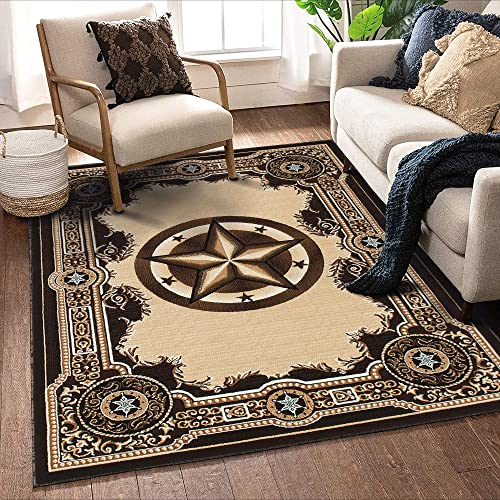 Allstar 8×10 Traditional Accent Rug in Berber with Chocolate Western Texas Star Design 9 8 x 7 9
