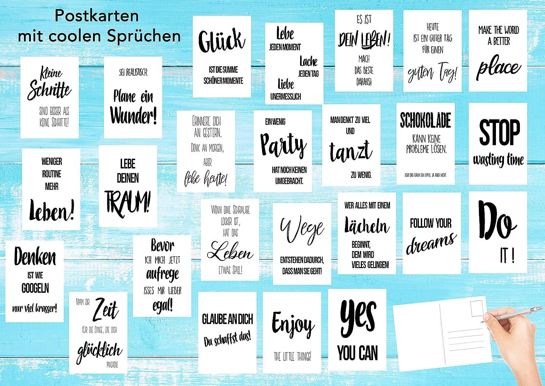 2x25 Dekoidee Geschenk Liebe - Karten mit Spruch Freundschaft Edition Seidel Set 50 Postkarten Leben /& Momente mit Spr/üchen Motivation lustig Postkarte Karte Leben