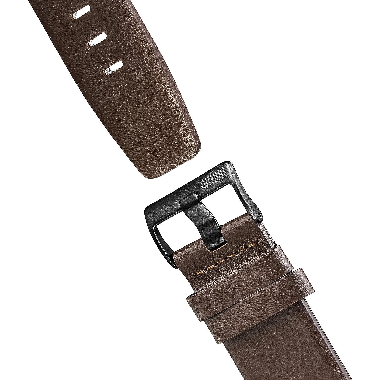 Braun kvartsklocka för män med kronograf display och läderrem Svart/brun