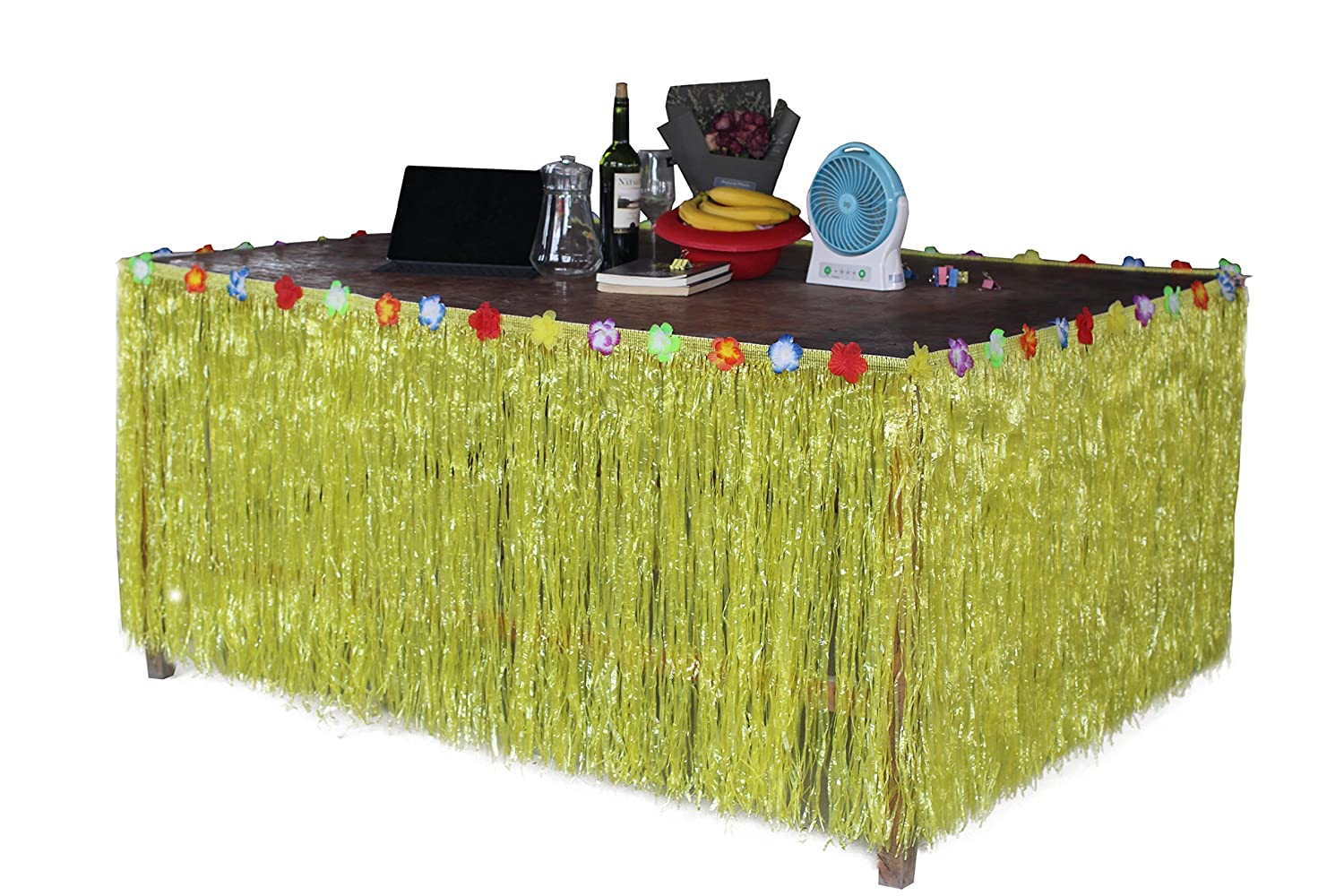 Fighting to Achieve Hawaiian Hibiscus Table Skirt with Color String /& Silk Faux Flowers Party Decoration Blue 9 FT