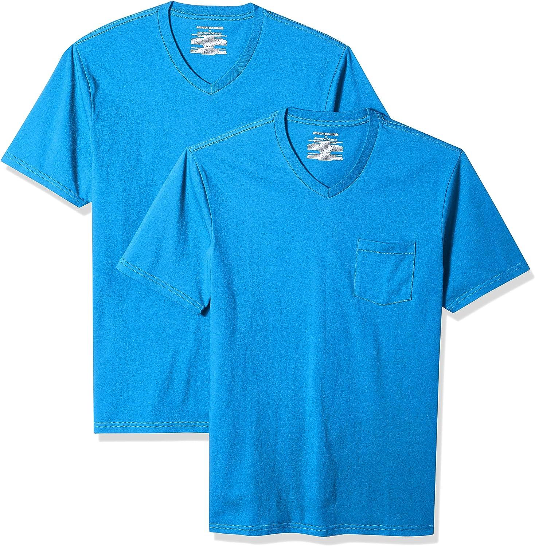 Amazon Essentials Men's 2-Pack Slim-Fit Short-Sleeve V-Neck Pocket T-Shirt
