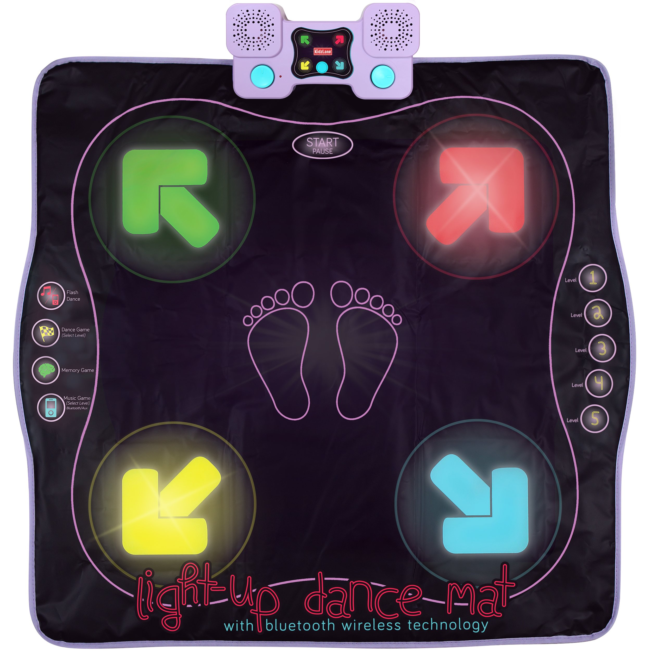 Light Up Dance Mat - Arcade Style Dance Games with Built In Music Tracks and Bluetooth Wireless Technology