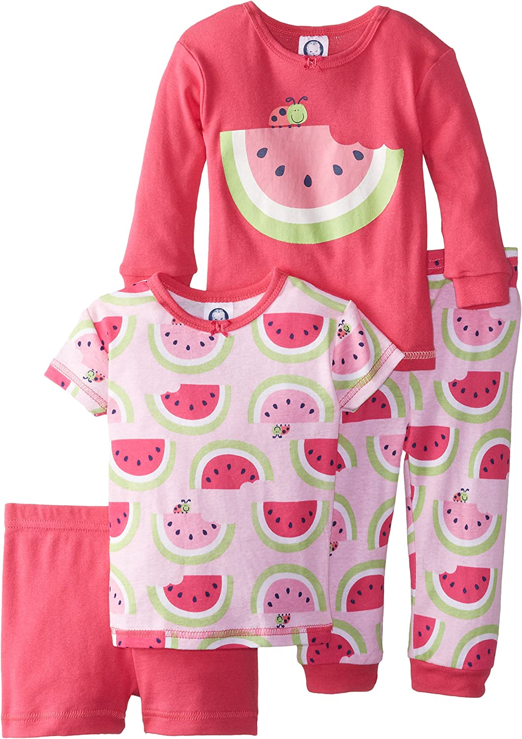Gerber Baby Girls Four-Piece Strawberry Pajama Set