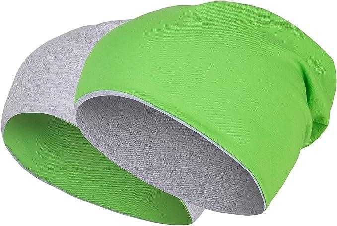Gorro reversible 2 en 1 barato de color verde flúor