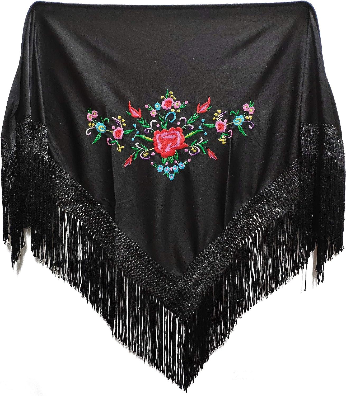 MUNDDY - Manton Bordado en Flores Para niña. Mantones Flamenco Sevillana.Mantón para fiesta de Color Rojo Negro Rosa Blanco Amarillo Azul. Envio desde madrid con seguimiento. …