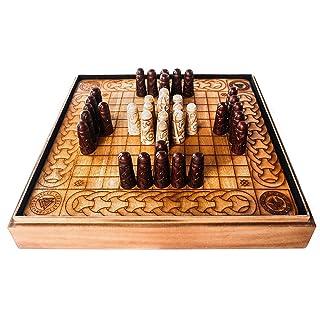 Handcrafted Viking Hnefatafl Set w/ Ox-Bone Game Pieces & Solid Teakwood Board