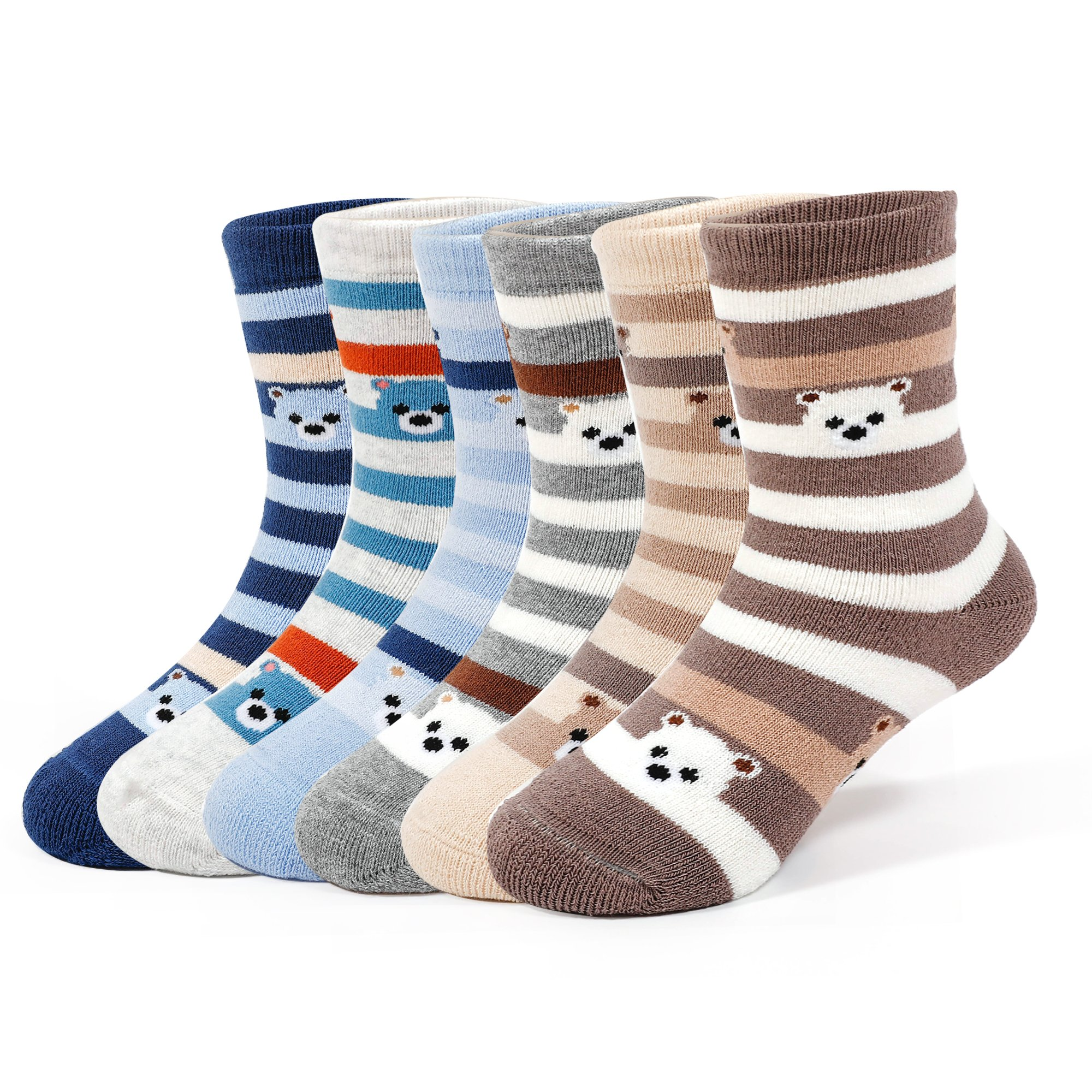 Boys Winter Thick Cotton Socks Kids Warm Seamless Socks 6 Pack For 8T/9T/10T