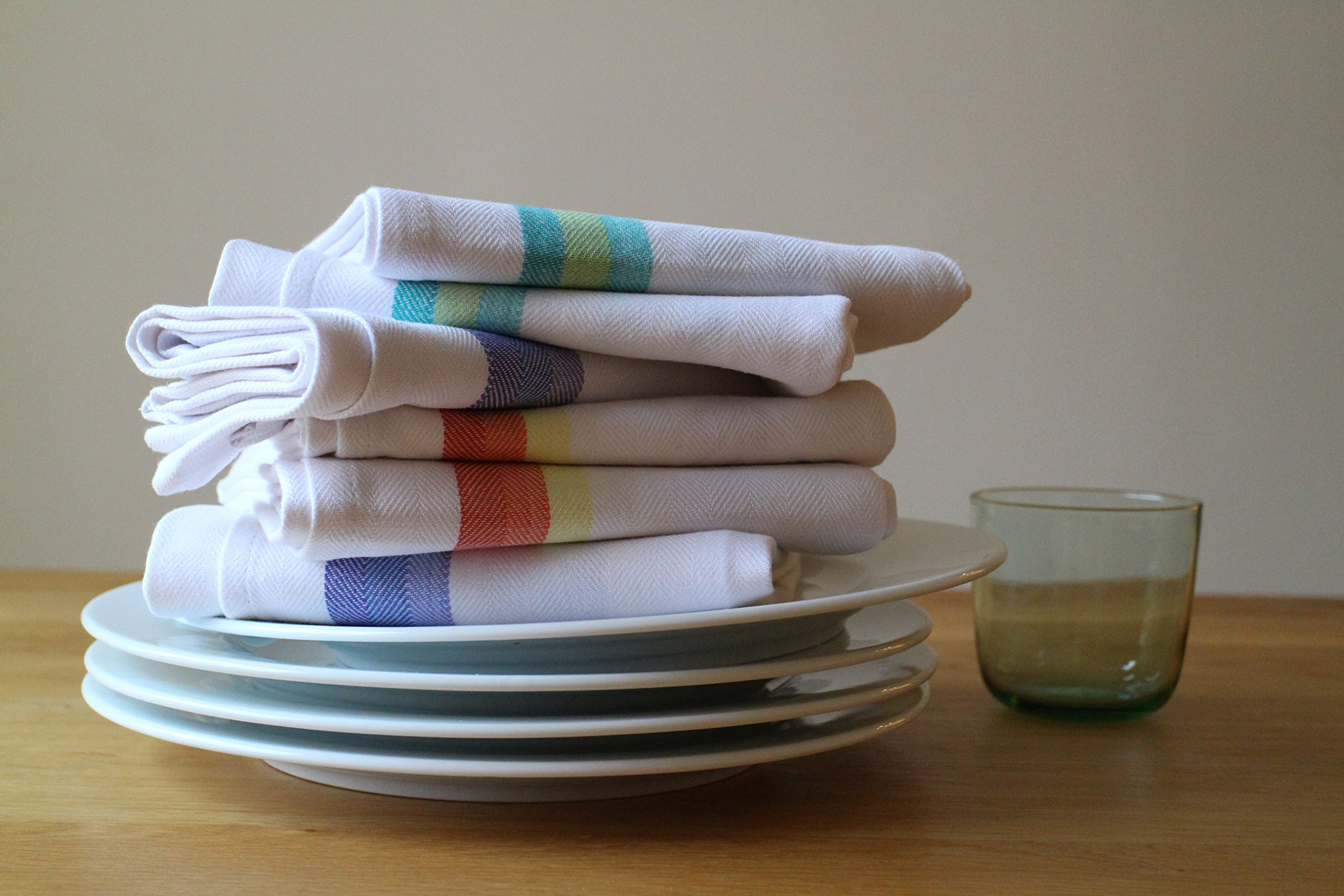 Kitchen Dish Towels set of 12-Tea Towels by Harringdons, 100% cotton. LARGE Dish Cloths 28''x20'' soft and absorbent. White with blue, green and red stripes, 4 of each. There's no substitute for QUALITY by Harringdons (Image #5)
