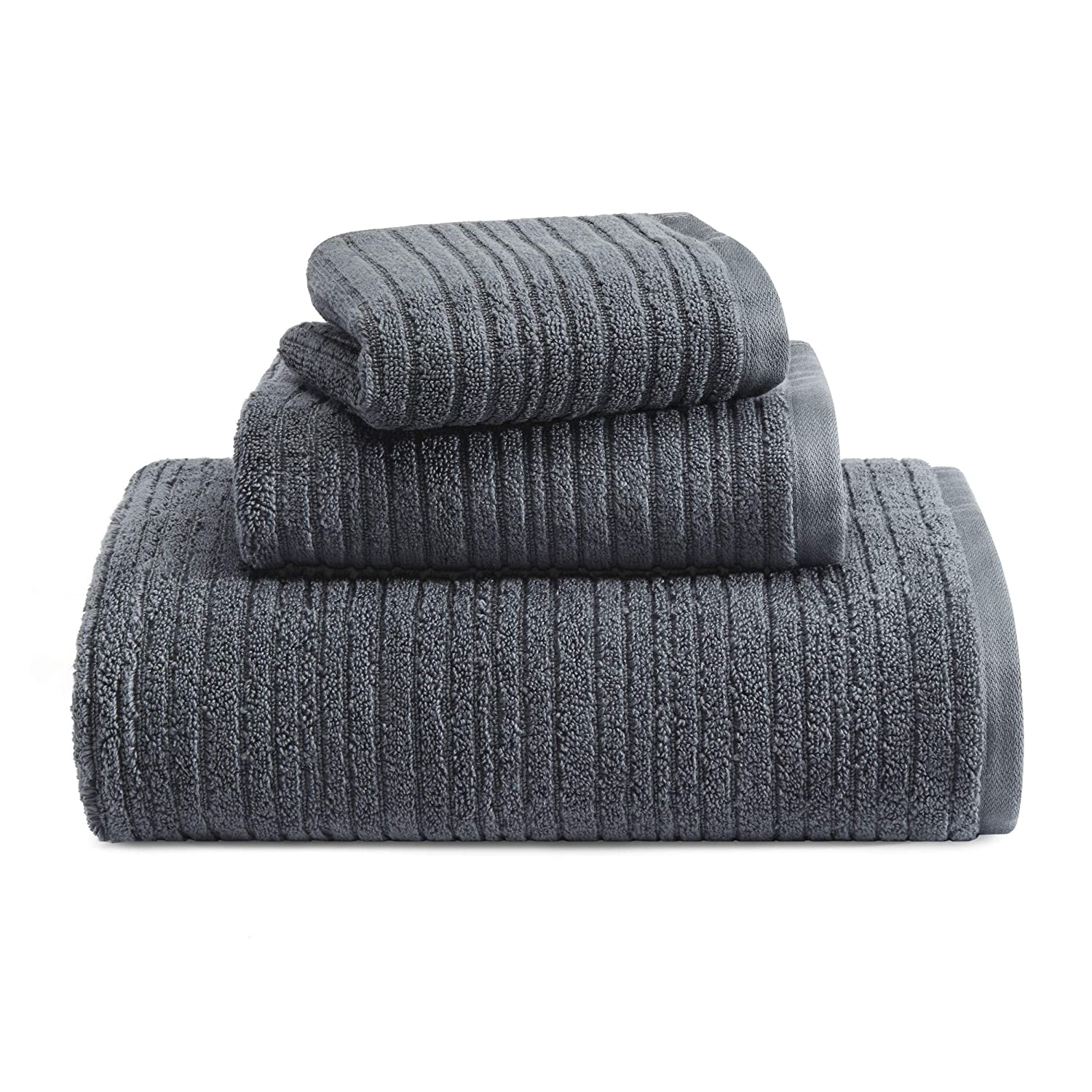 Kenneth Cole REACTION Quick Dry Towel Set, 3 Piece, Charcoal