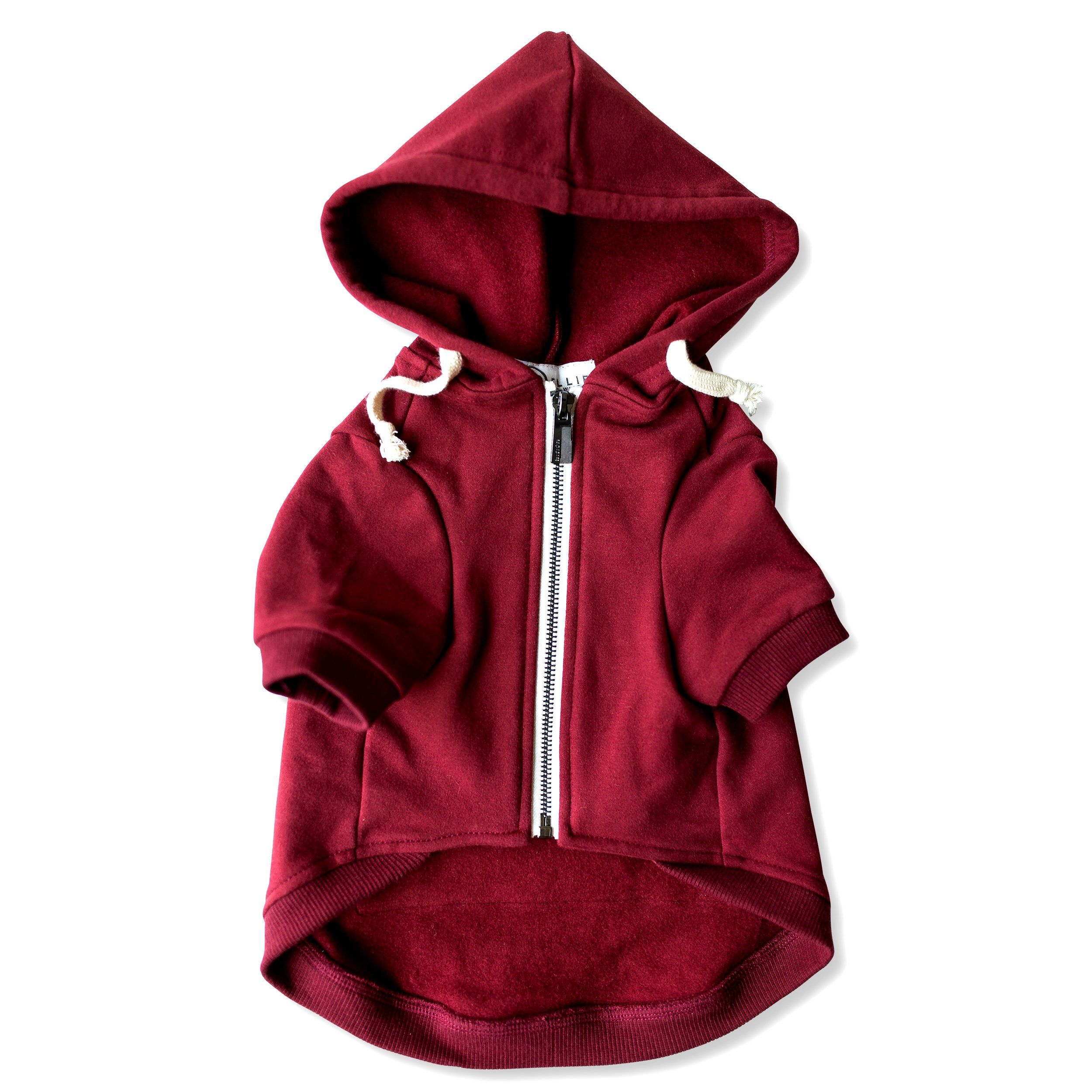 Adventure Zip Up Maroon Red Dog Hoodie with Hook & Loop Pockets and Adjustable Drawstring Hood - Available in Extra Small to Extra Large. Comfortable & Versatile Dog Hoodies by Ellie (M)