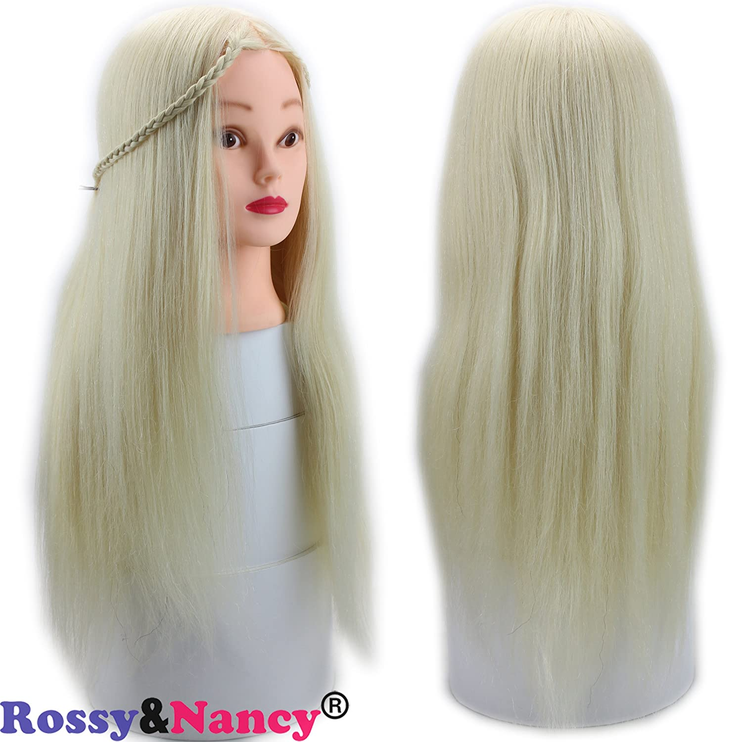 Rossy&Nancy Cosmetology Practice Head for Hair Cutting Styling Curling with 50% Human Hair and 50% Synthetic Hair Blonde Color