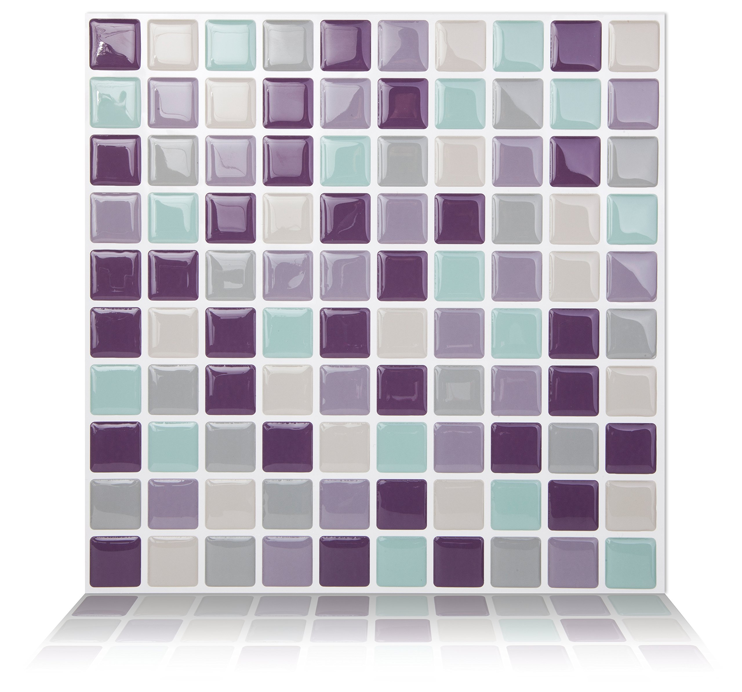Tic Tac Tiles 10-Sheet Peel and Stick Self Adhesive Removable Stick On Kitchen Backsplash Bathroom 3D Wall Sticker Wallpaper Tiles in Mosaic Violetmint by Tic Tac Tiles